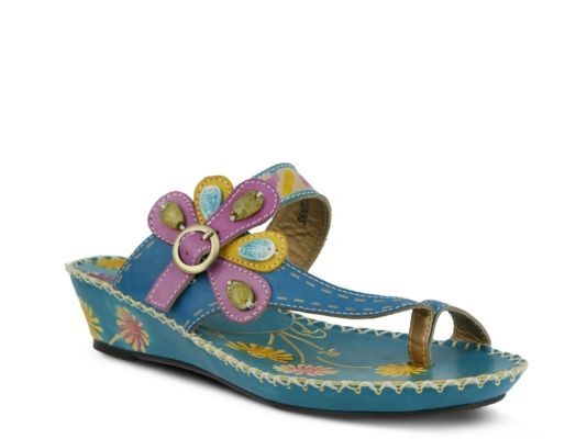 Women's L' Artiste by Spring Step Santorini Wedge Sandal - Turquoise