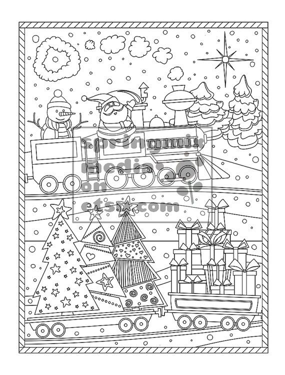 Christmas Coloring Page Christmas Treats Holiday Coloring Etsy In 2021 Holiday Coloring Book Detailed Coloring Pages Christmas Coloring Pages