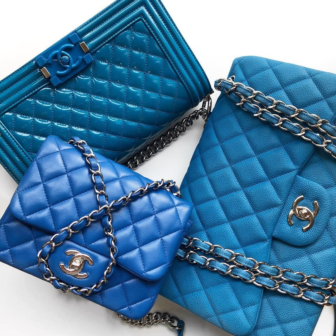 """18816d890cb1 Opulent Habits on Instagram: """"Blue Beauties in stock now 💙🌈Authentic  Chanel Old Medium Patent Plexiglass Boy, Square Lambskin Mini and Sueded  Caviar ..."""