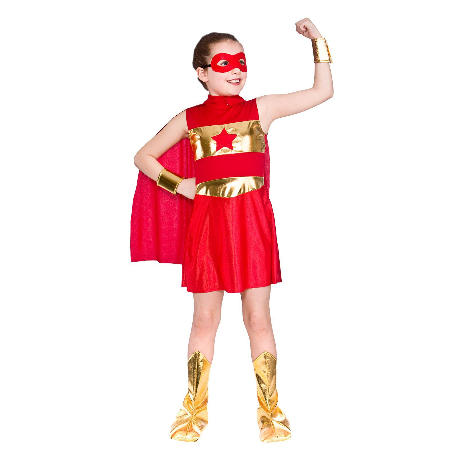 Girls Red Super Hero Fancy Dress Up Party Costume