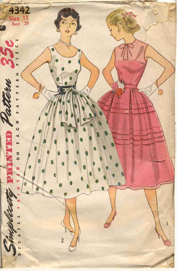 Simplicity 4342 Vintage 1950s Fancy Dress Pattern By Bellaloona 8 00 Vintage Clothes Patterns Vintage Sewing Patterns Vintage Dress Patterns