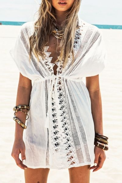 3af48e1ac4 Plunging Neck Hollow Lace-Up White Cover-Up WHITE: Swimwear | ZAFUL ...