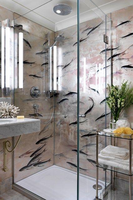 Digital Art Gallery Galbraith and Paul Lotus Wallpaper bathroom Bryant sconces