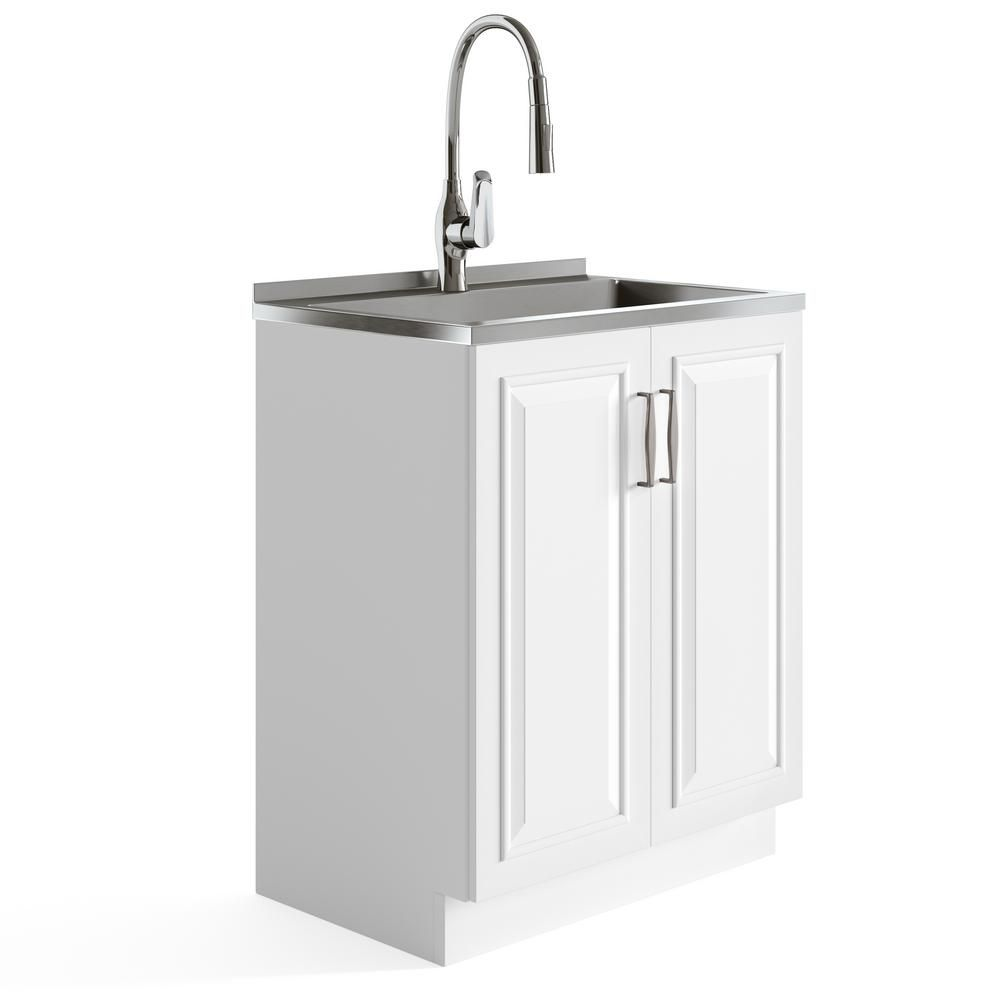Grey Utility Sink Laundry Tub With High