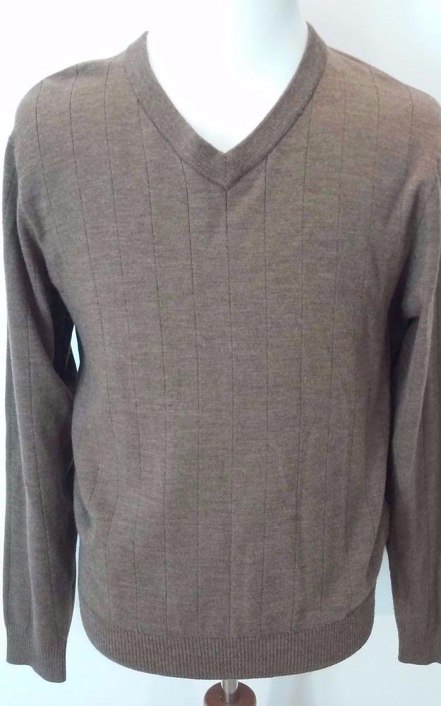 Nordstrom Men's 100% Merino Wool Sweater Brown Pin Stripe V