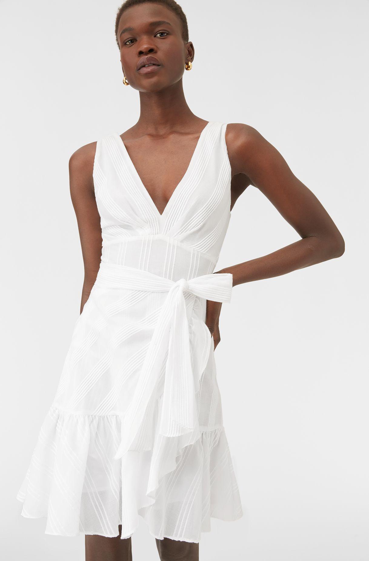 Sheer Stripe White Wrap Dress Rebecca Taylor Dresses White Wrap Dress Halter Mini Dress [ 1848 x 1218 Pixel ]