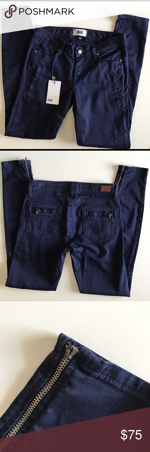 """Paige Denim """"Marley"""" Skinny Twill Moto pants NWT however, the zipper pull on right ankle has broken off. Zippers all still fully functional. Size 27. Waist 15"""" flat across. Inseam 29"""". Color is """"Pacific Dusk"""". Stock photo used to show fit/style. Material is 98% cotton and 2% elastane. Made in USA. Sorry, no trades and I am unable to model. Paige Jeans Pants Skinny"""