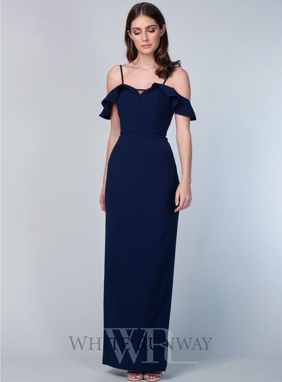 3eba004dfa Laura Pencil Dress. A stunning full length dress by Love Honor. A fitted pencil  gown featuring thin straps and frilly off shoulder detailing.