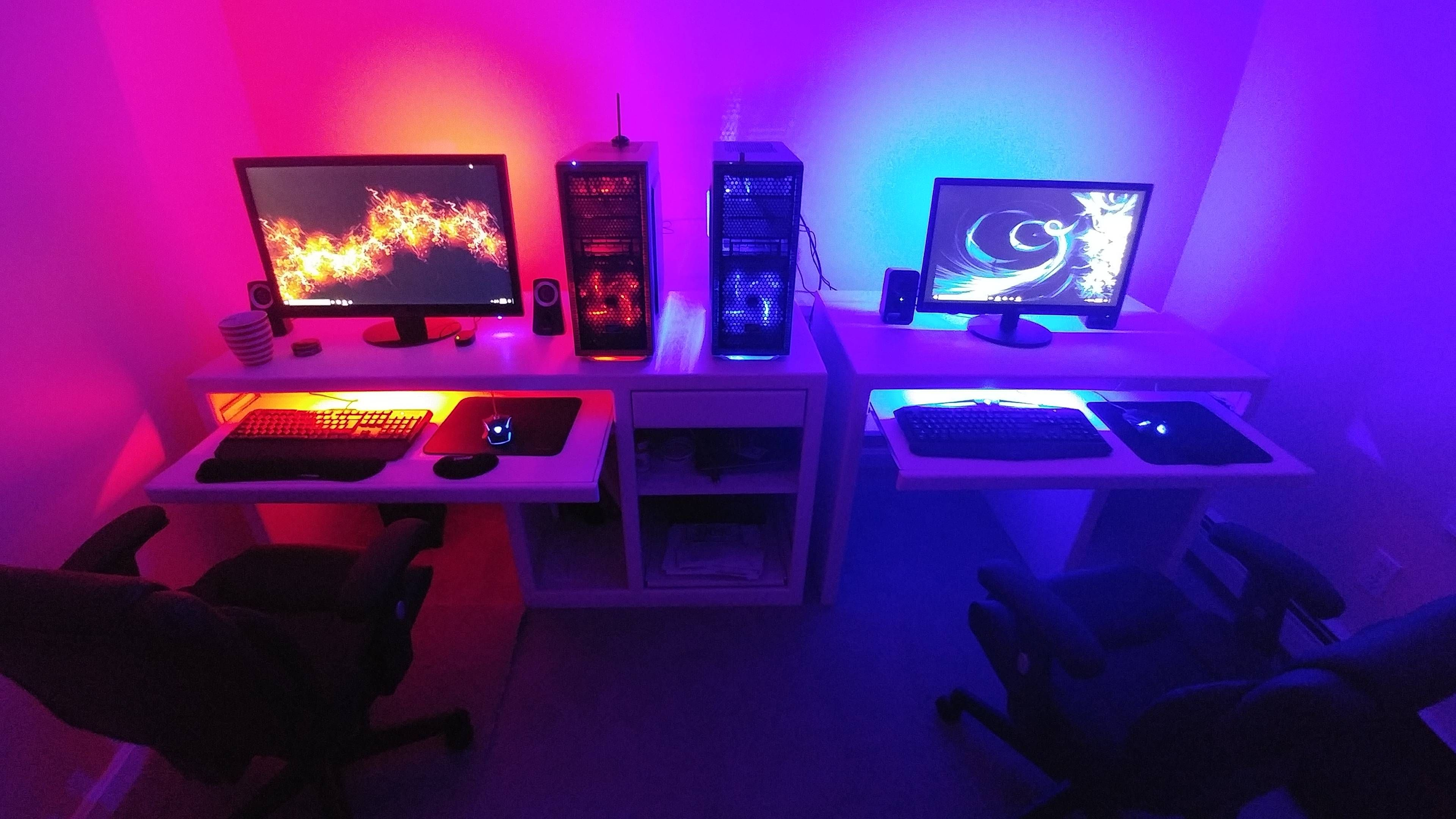 Step 1 Build Computer Step 2 Convince Fiancee She Also Needs Computer Step 3 Fiancee Realizes She Loves Pc Gaming Step 4 Battlestations Gaming Computer Desk Computer Gaming Room Gamer Room