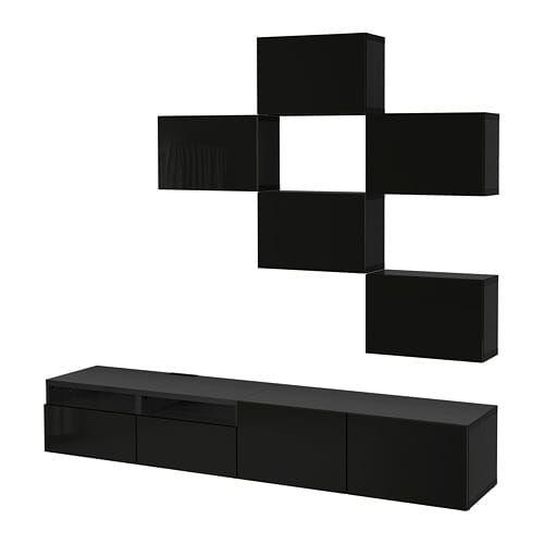 Ikea Bestå Tv Storage Combination Black Brown Selsviken