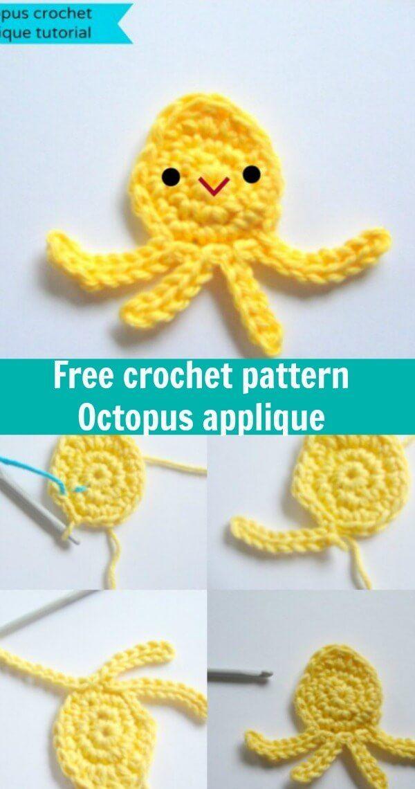 free crochet pattern octopus applique | crochê | Pinterest ...