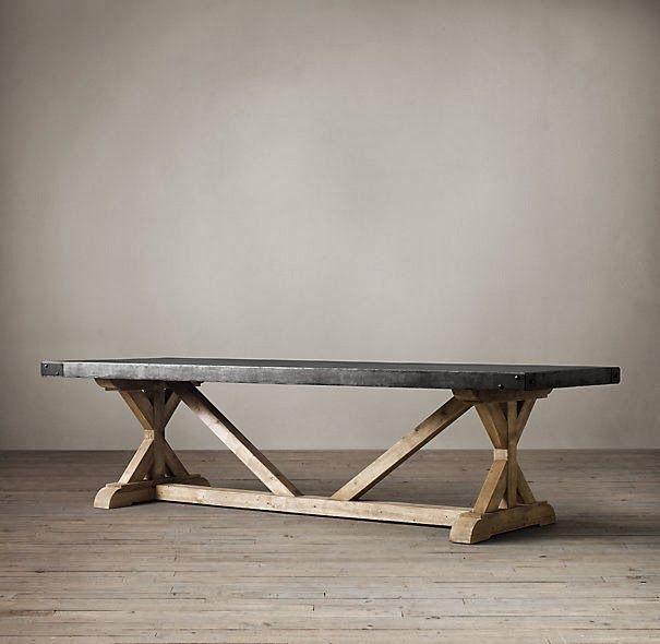 Awe Inspiring Restoration Hardware Salvaged Wood And Concrete X Base Table Inzonedesignstudio Interior Chair Design Inzonedesignstudiocom