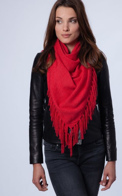 Red triangle cashmere scarf with fringe by REPEAT