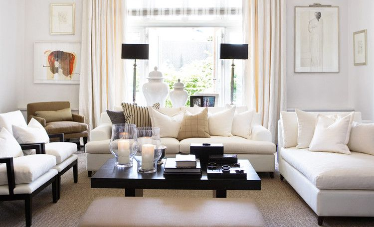 Living room configuration with sofa, chaise and chairs Love the mix