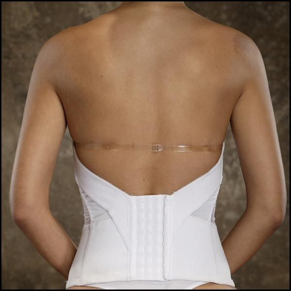 Longline Wedding Bustier: Flattering Me® Strapless Bra For Wedding Gowns   The Back Of The Adjustable Strap Corset With Example Of How To Wear With  Strapless