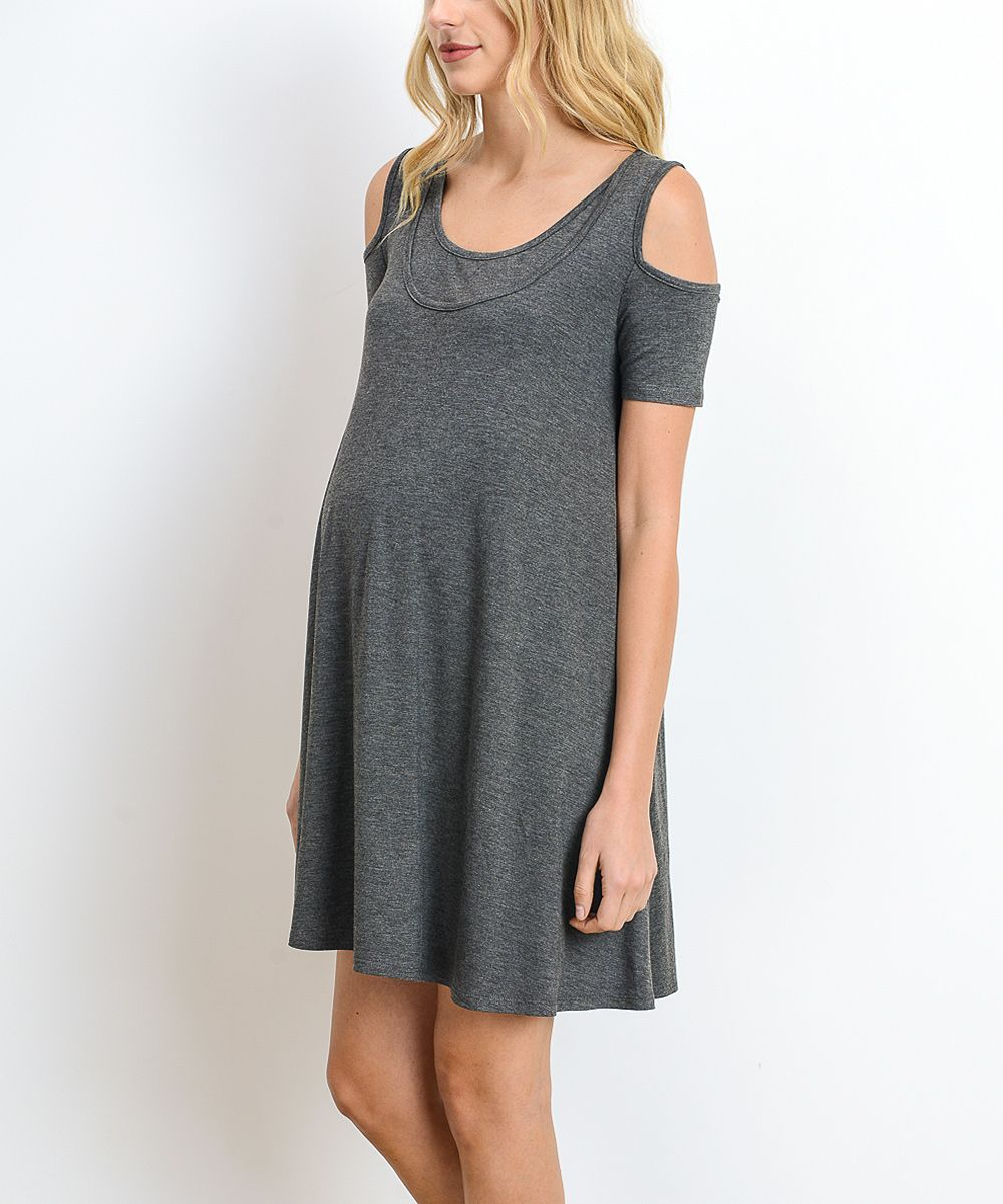 792a7dce049c5 Hello Miz Charcoal Cold Shoulder Maternity/Nursing Tunic | Products ...