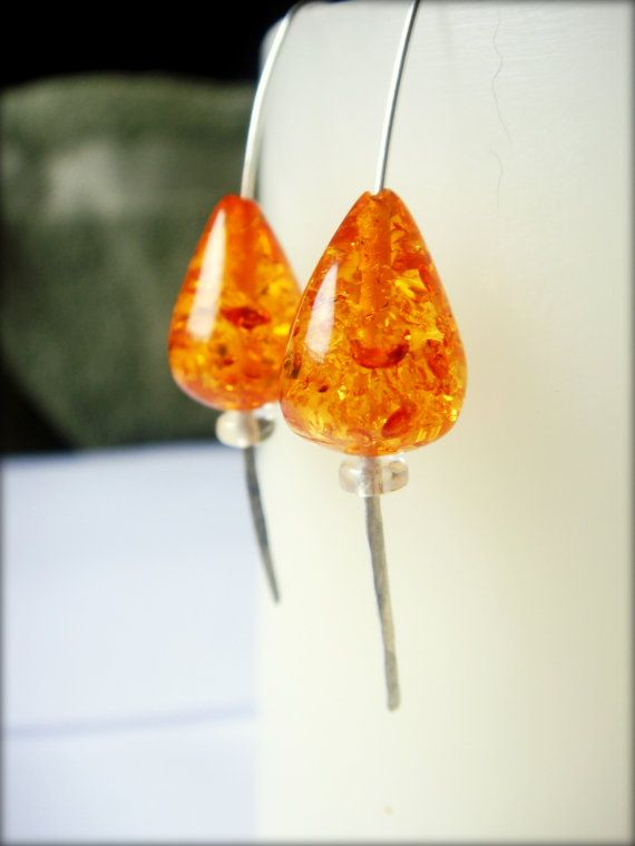 Baltic amber and citrine silver hoops silver by BalisTreasures, $12.00 free shipping!