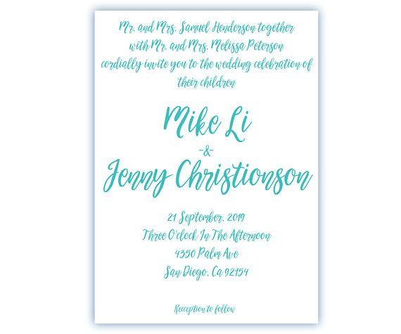 wedding invitation calligraphy Wedding invitations blue tones