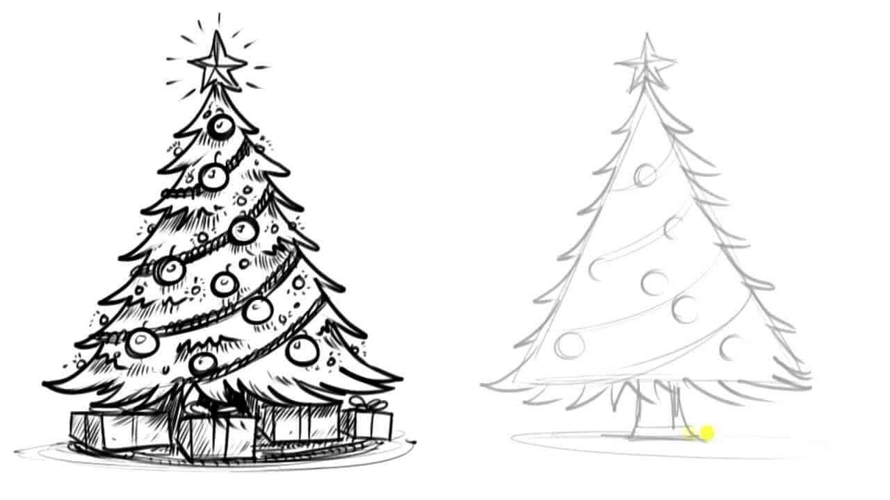 How To Draw A Realistic Christmas Tree Diys Com In 2020 Christmas Tree Drawing Christmas Tree Drawing Easy Realistic Christmas Trees