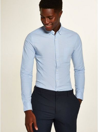db3564a55401 Blue Stretch Skinny Oxford Shirt in 2019 | Matt cake | Shirts, Shirt ...