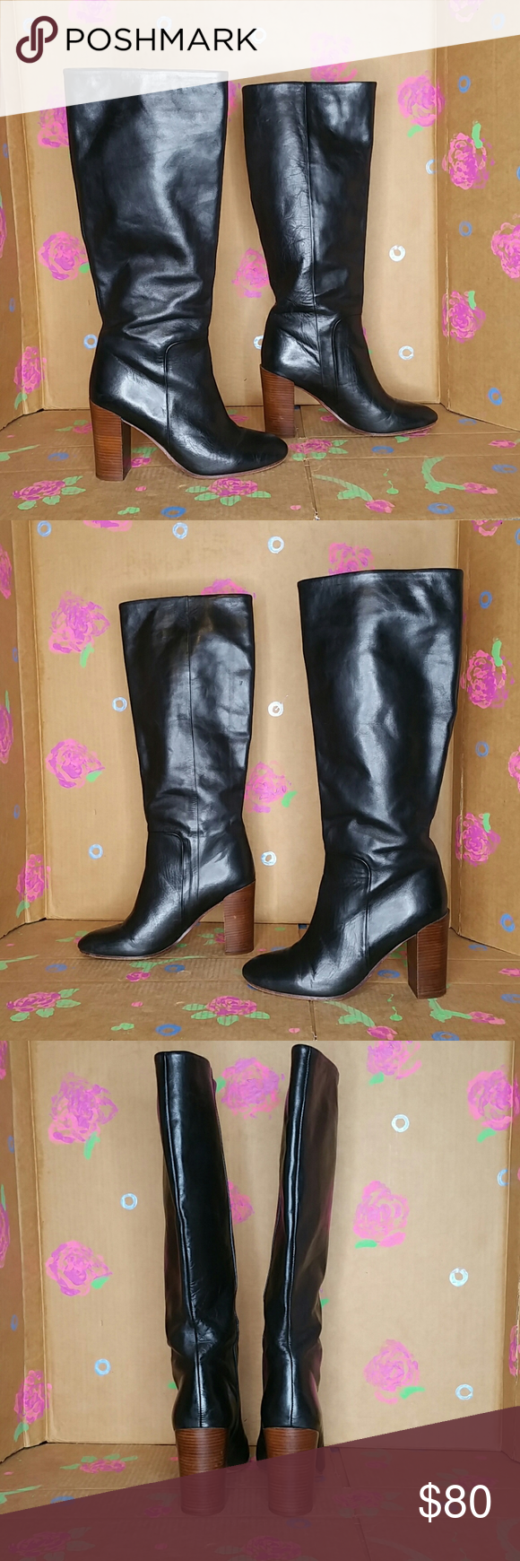 Lands End Black Leather Tall Boots High