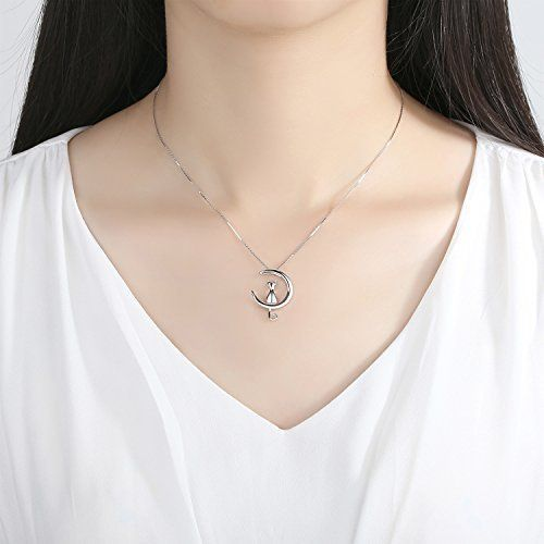 AneWish High Quality Fine Jewelry Moon cat Pendant Necklace S925 Sterling Silver perfect Gift for Fashion Women Girl p4FZhR8PC