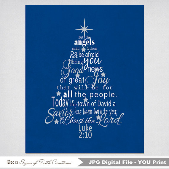 luke 2 bible verse christmas tree subway art instant download printable digital file scripture art great christmas decoration