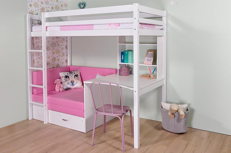 Hoogslaper met zitbank inclusief roze kussenset en bureau
