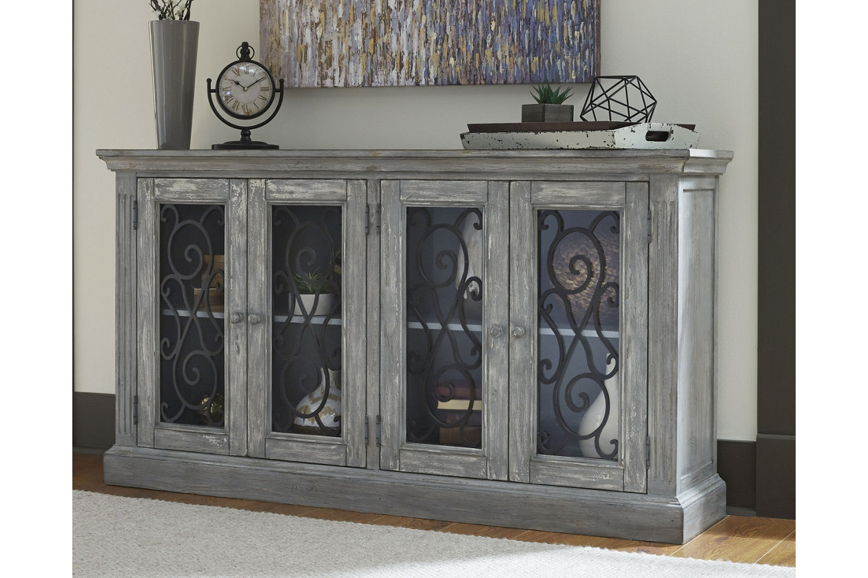 Mirimyn Door Accent Cabinet Antique Gray Furniture Home Home Decor