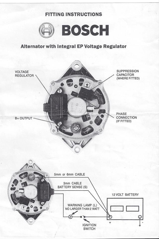 Bosch internal regulator alternator wiring diagram. (With