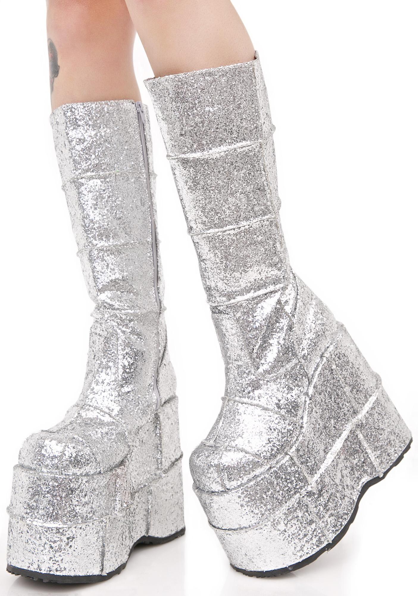 6b300f4796d Demonia Glitter Stack Platform Boots