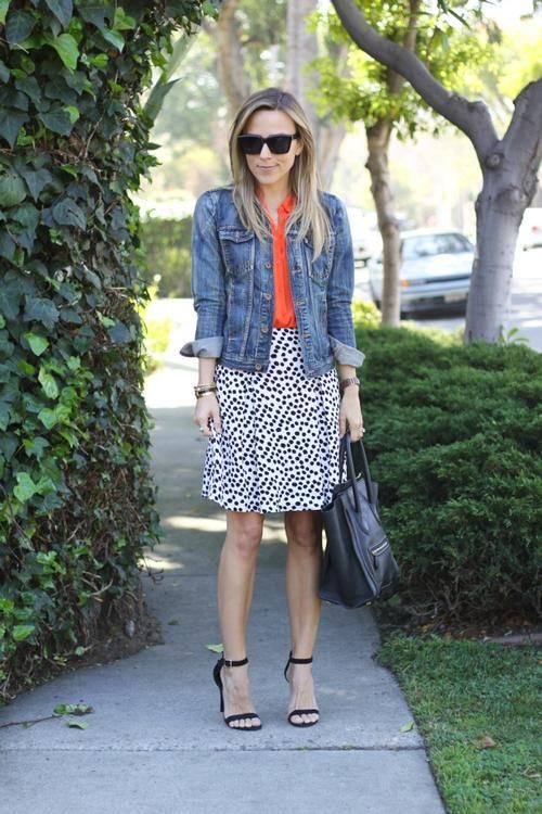 polka dot skirt / denim jacket / colored top