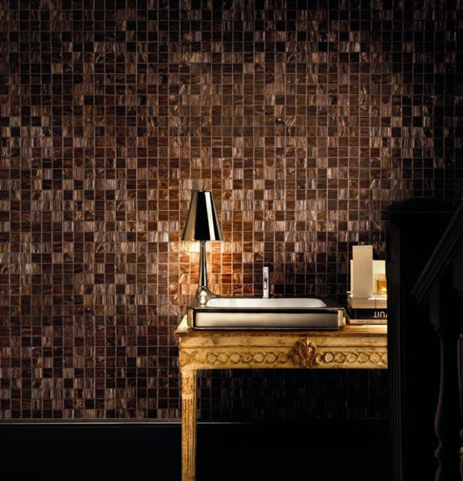 Love the sink + lamp fixture.  Copper Color Bisazza Mosaic--  that contemporary look and serene feeling .