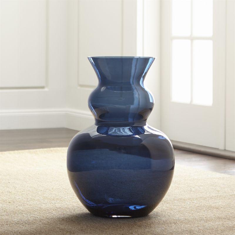 Nona Blue Glass Floor Vase Crate And Barrel Floor Vase Vase