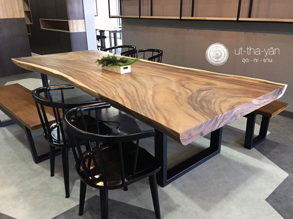 A Single Acacia Raintree Live Edge Meeting Table Live Edge