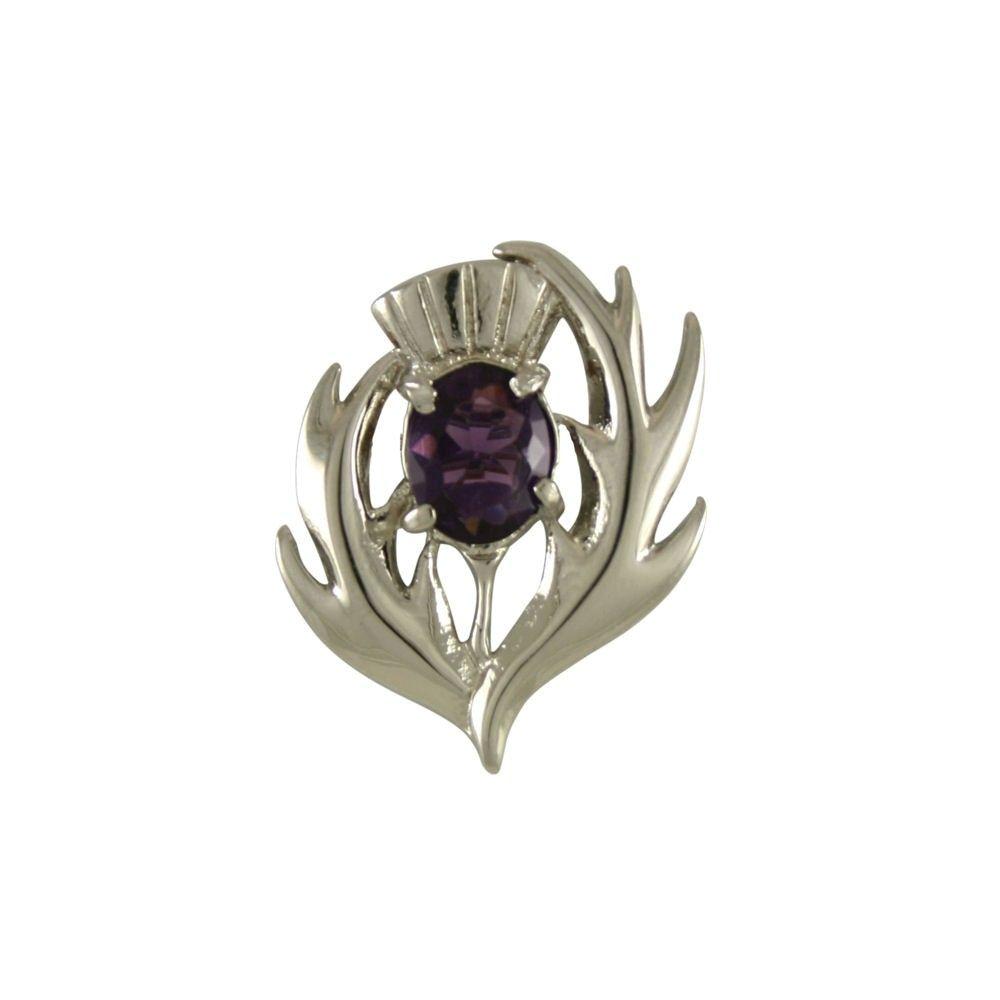 Pewter Purple Amethyst Crystal Triple Scottish Thistle Brooch bCnTKiT