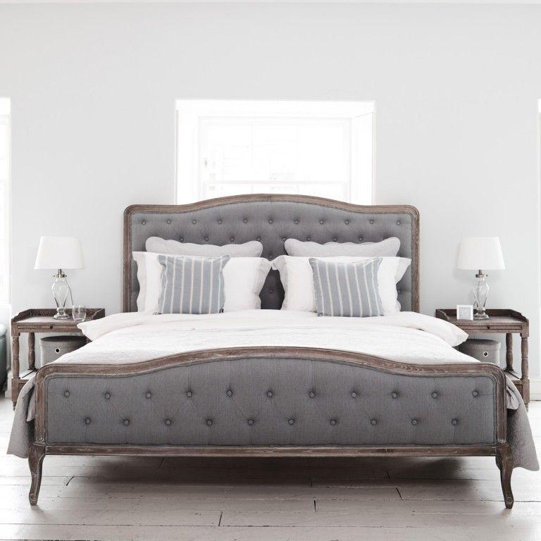 Chantal Bed - Superking Grey Linen   Camas, Dormitorio y Cabecera