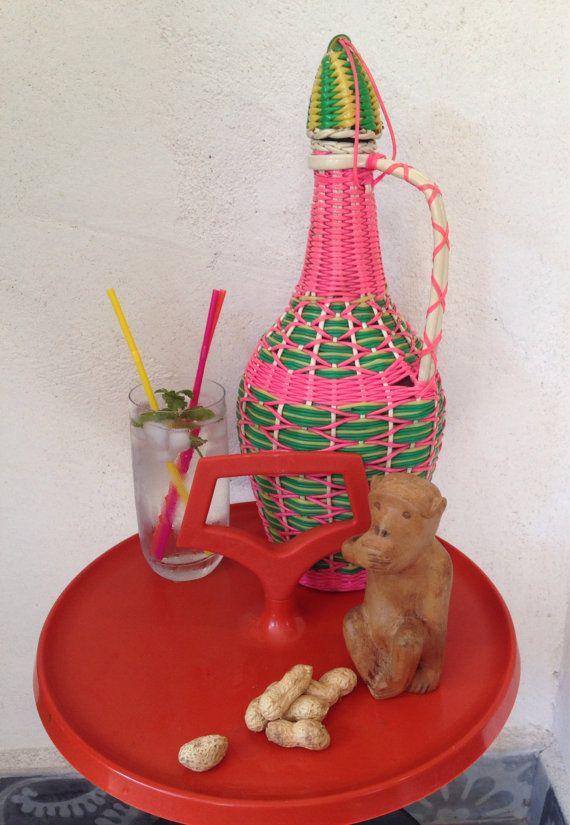 Bouteille carafe scoubidous décoration vintage par sosthen sur Etsy, €14.80