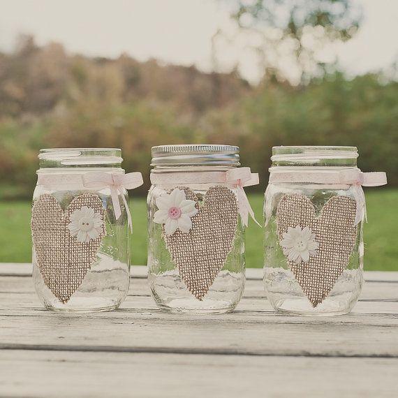 Burlap mason jar. Wedding Centerpiece. Burlap by StyleJarsandCans