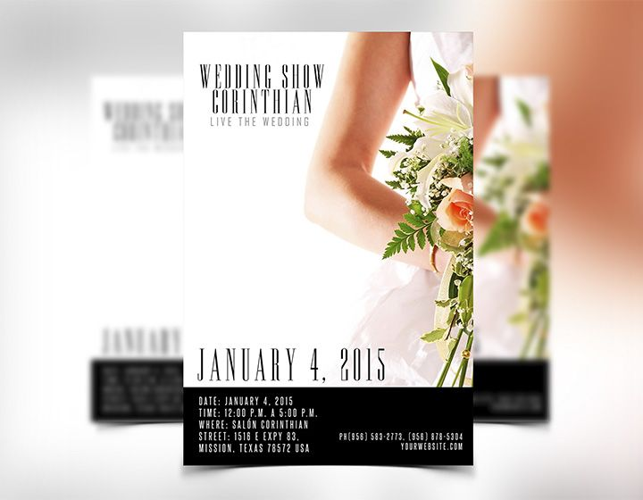 New wedding flyer template PSD for a wedding event, wedding show - wedding flyer