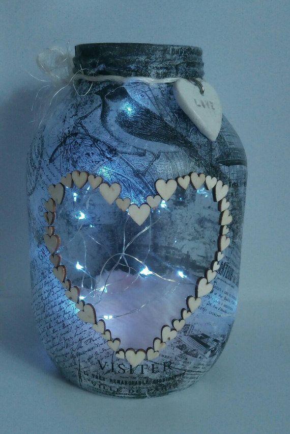 Fabricado a mano decoupage linterna sostenedor de vela