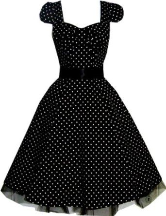 a633098f9367 Pretty Kitty Fashion 50s Polka Dot Black Vintage Swing Prom Pin-Up Tea Dress:  Amazon.co.uk: Clothing