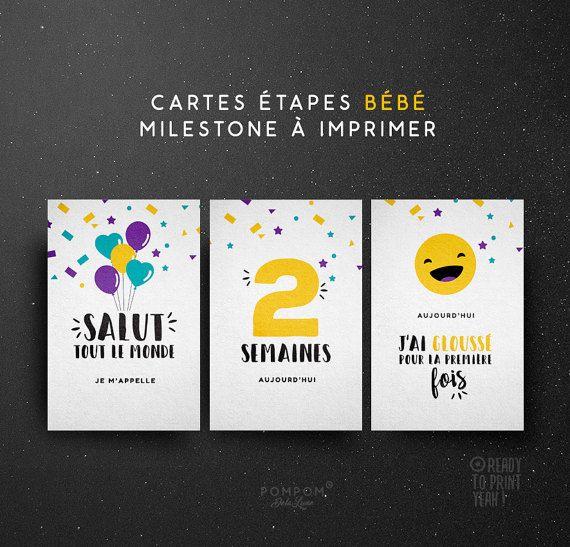 carte etape bebe a imprimer gratuit PRINTABLE Baby Milestone Cards   Instant download milestone cards