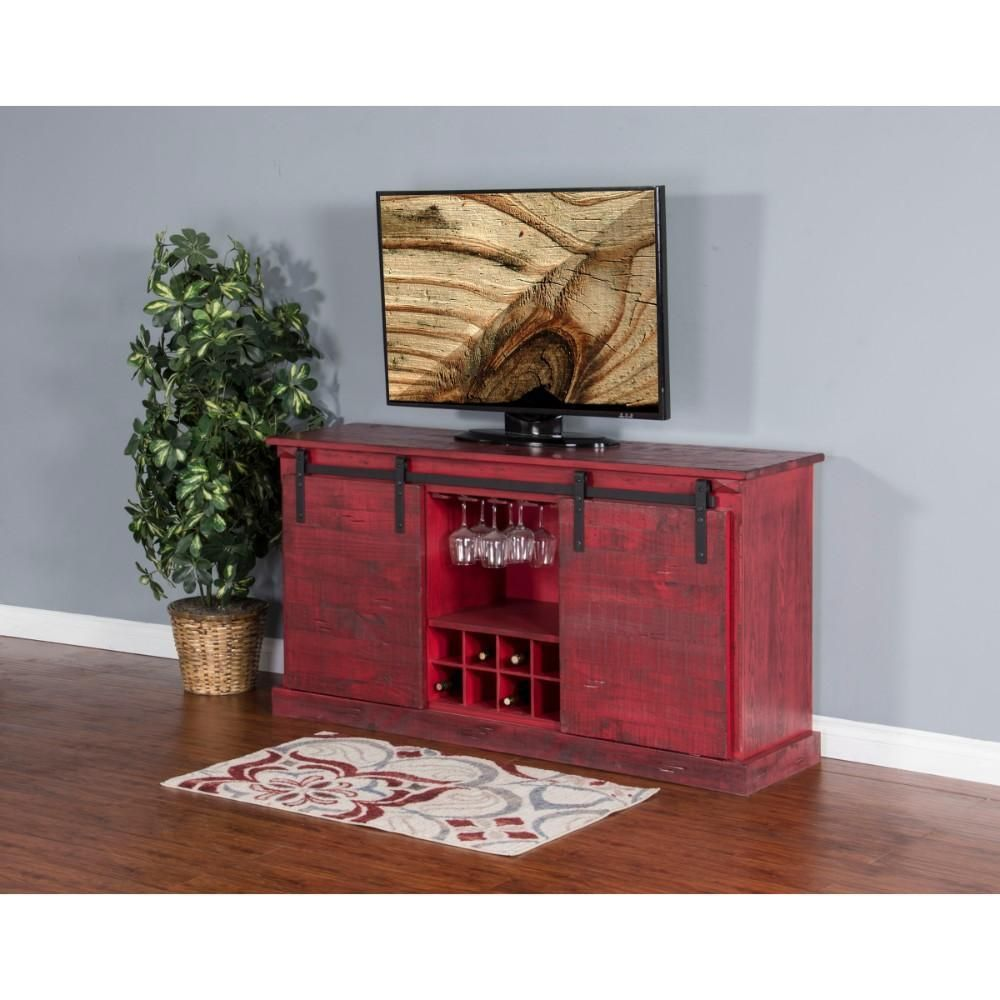 Burnt Red Wooden Tv Console