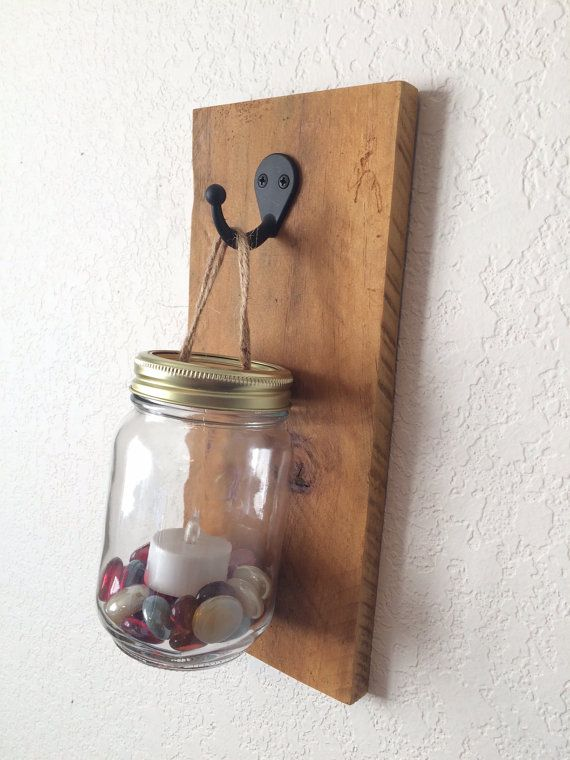 This Wall Candle Holder Is Made From A Recycled Pallet Which Has Been Sanded And Stained With It S Natural Color The Hook Is Matte Blac Mason Jars Wall Candle Holders Led