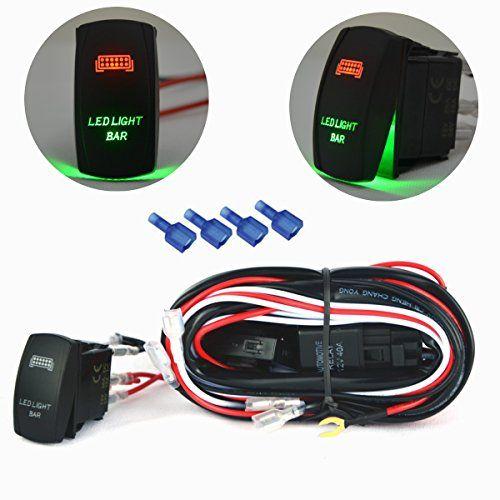 mictuning led light bar wiring harness kit w red green rocker rh pinterest co uk