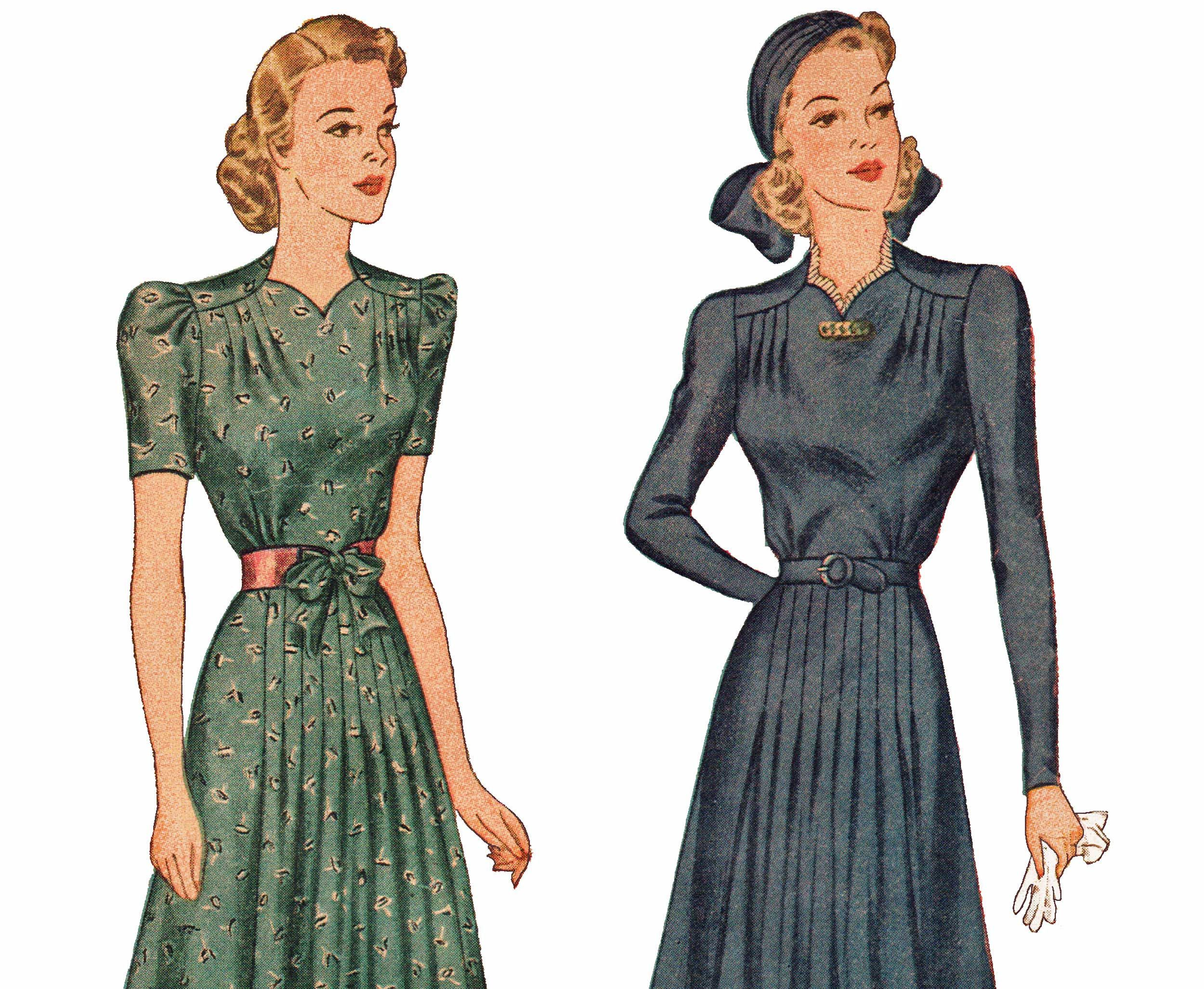 1940s Vintage Sewing Pattern Simplicity 3384 Misses Dress And Turban Forward Shoulder Tuck Flared Dress Size 14 Bust 32 Vintage 40s Dress Dresses Afternoon Dress