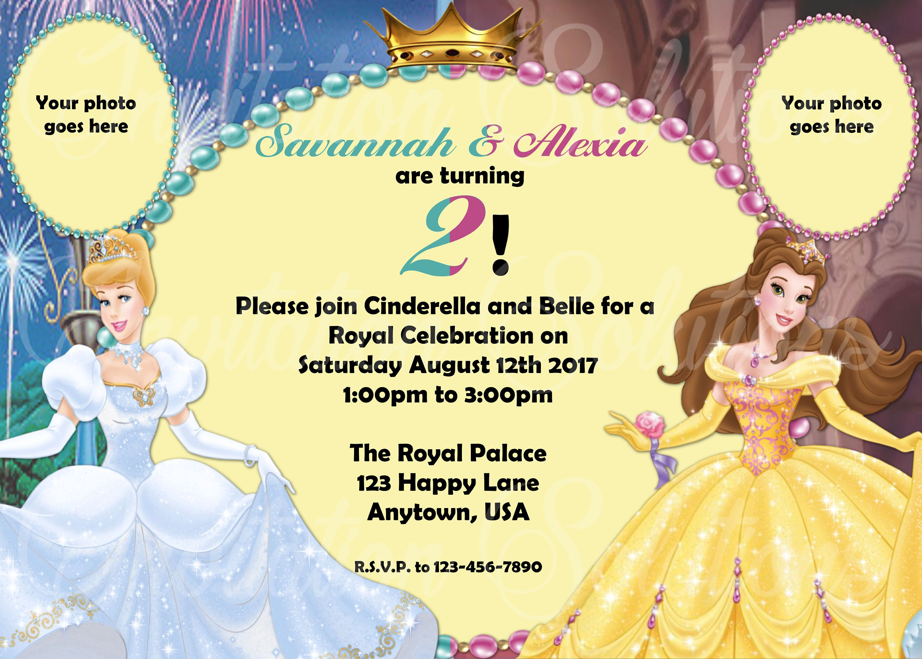 Cinderella and Belle Twins or Double Birthday Party with your childs ...