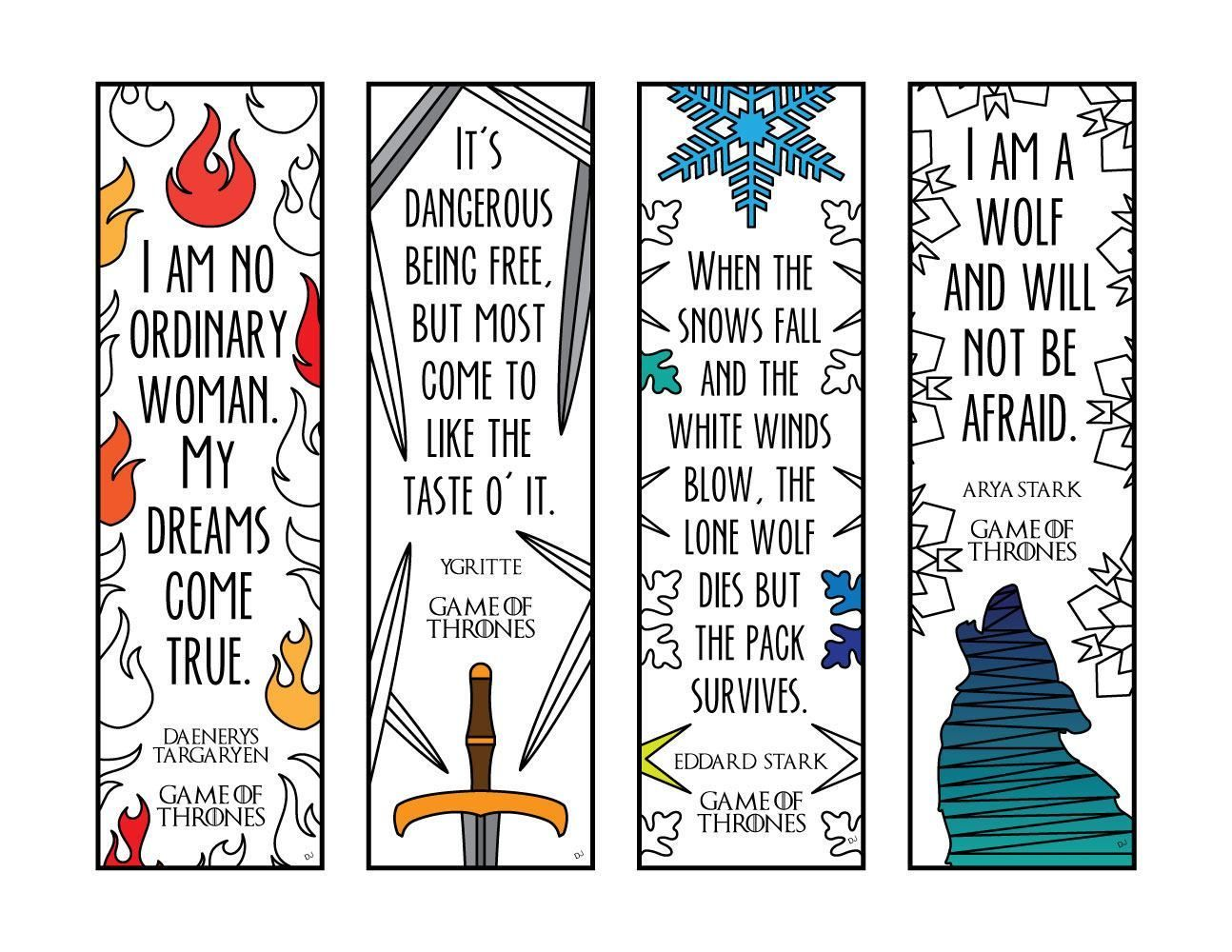 Game Of Thrones Quote Bookmarks Pdf Zentangle Coloring Page