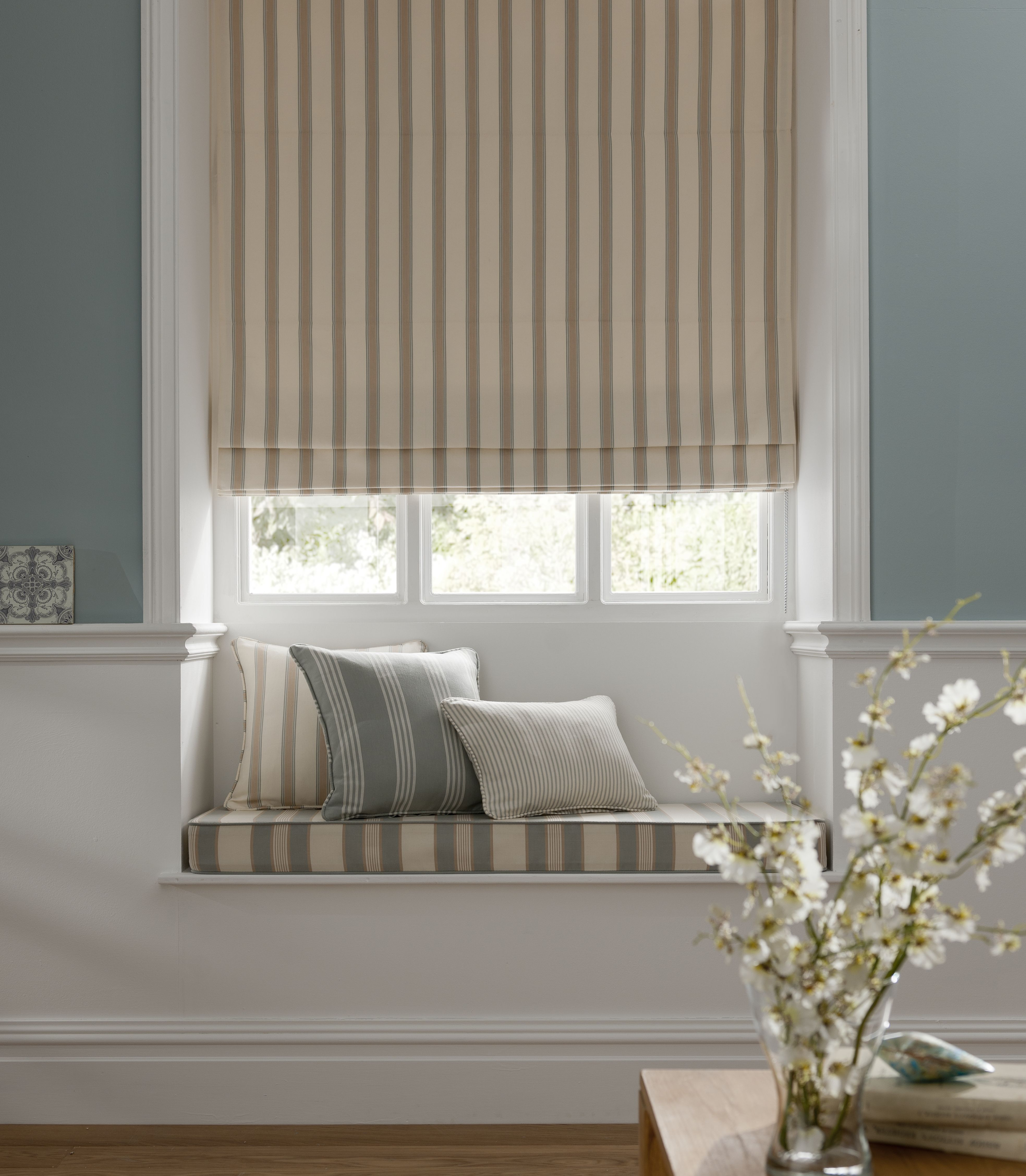Villa Ticking Stripe Www Lahood Co Nz Roman Blinds Living Room Curtains With Blinds Roman Blinds